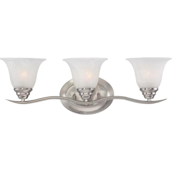 Volume Lighting Trinidad 3 Light Indoor Brushed Nickel Bath Or Vanity Wall Mount With Alabaster Glass Bell Shades V5233 33 The Home Depot