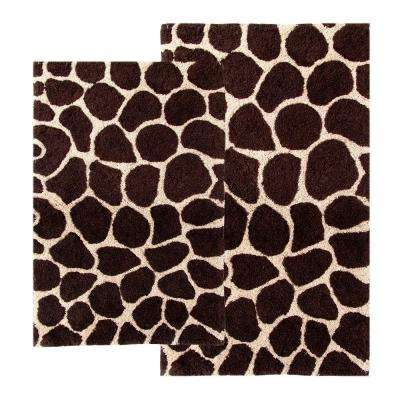 21 in. x 34 in. and 24 in. x 40 in. 2-Piece Giraffe Bath Rug Set in Chocolate and Beige