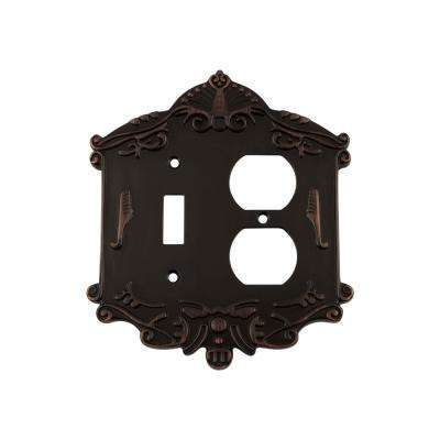 Victorian Switch Plate with Toggle and Outlet in Timeless Bronze