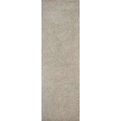 """London Collection Gray 100% Wool 2'6"""" x 8' Hand-Tufted Swirl Area Rug"""