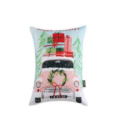 Christmas Car Reversible 12 in. x 16 in. Decorative Pillow