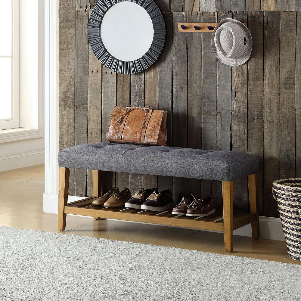 Charla Gray and Oak Storage Bench