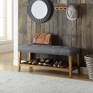 Acme Furniture Charla Gray and Oak Storage Bench by Acme Furniture