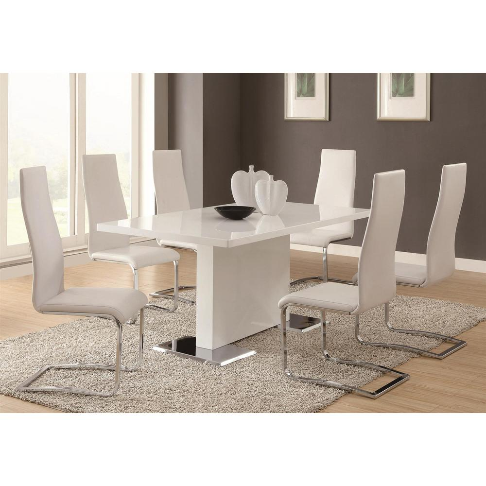 Coaster everyday dining white and chrome side chair set for Furniture coasters home depot
