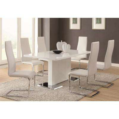 Everyday Dining White and Chrome Side Chair (Set of 4)