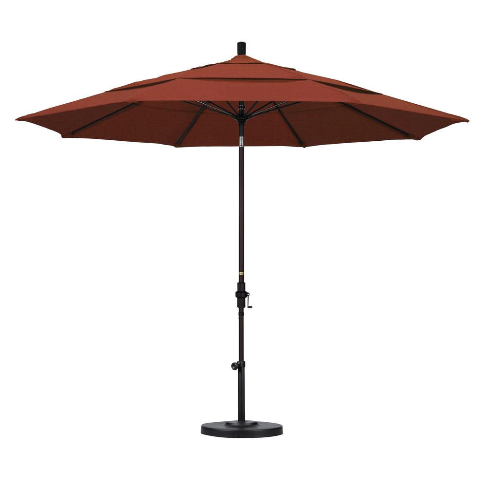 Elegant California Umbrella 11 Ft. Fiberglass Collar Tilt Double Vented Patio  Umbrella In Terracotta Olefin