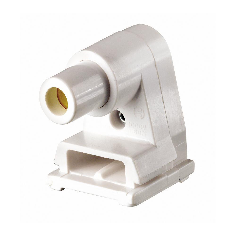 660-Watt White Slimline Base Single Pin Pedestal Slide-On Lock-On Plunger Standard Fluorescent Lampholder