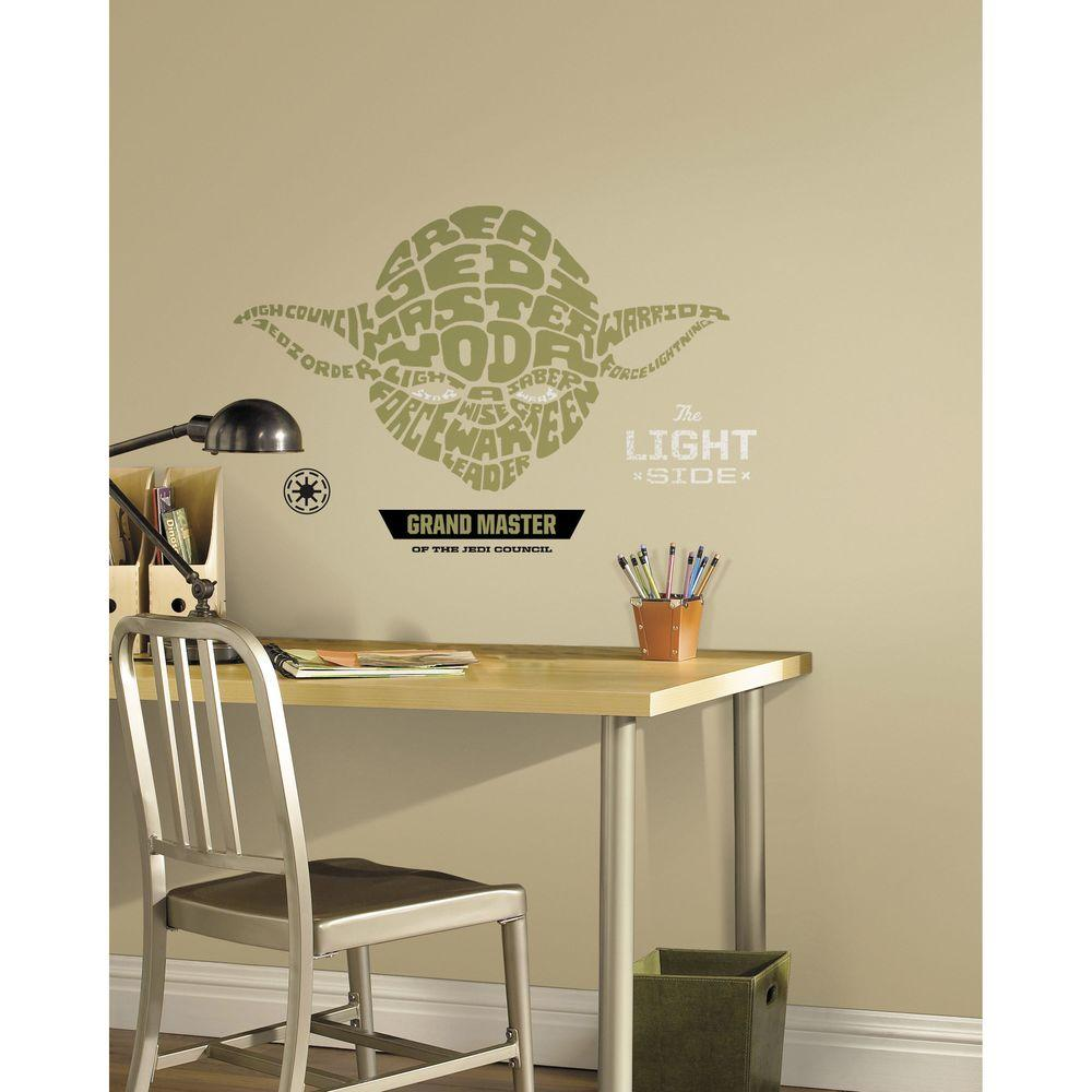 RoomMates 19 in. Multi Color Star Wars Typographic Yoda Peel and Stick Giant Wall Decals