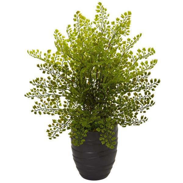 Nearly Natural Indoor Maiden Hair Artificial Plant in Black Ceramic Pot