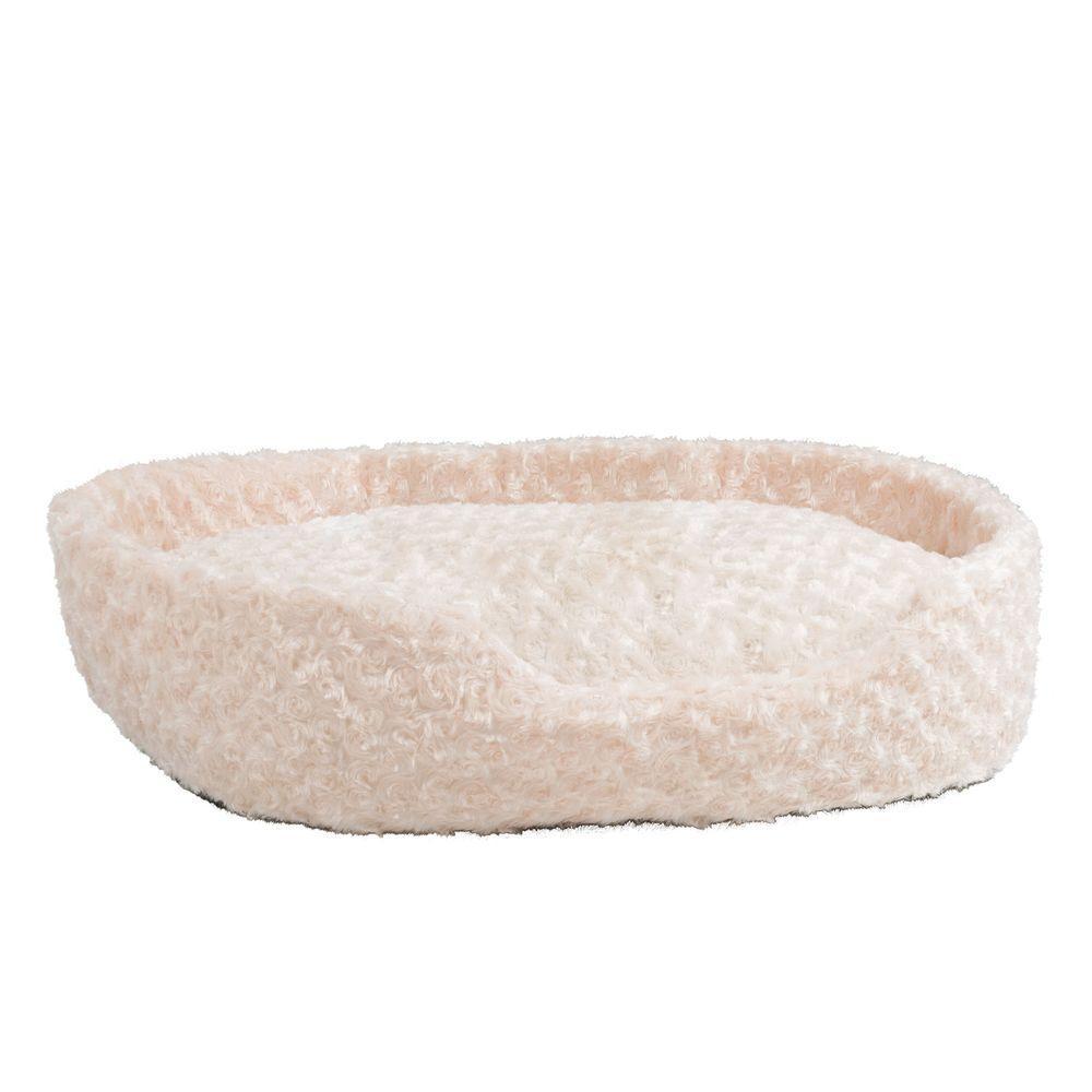 Large Ivory Cuddle Round Plush Pet Bed