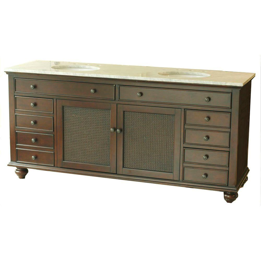 Pegasus Bimini 72 in. Double Basin Vanity Cabinet in Espresso with Bianco Carrara Marble Vanity Top in White and White Basins