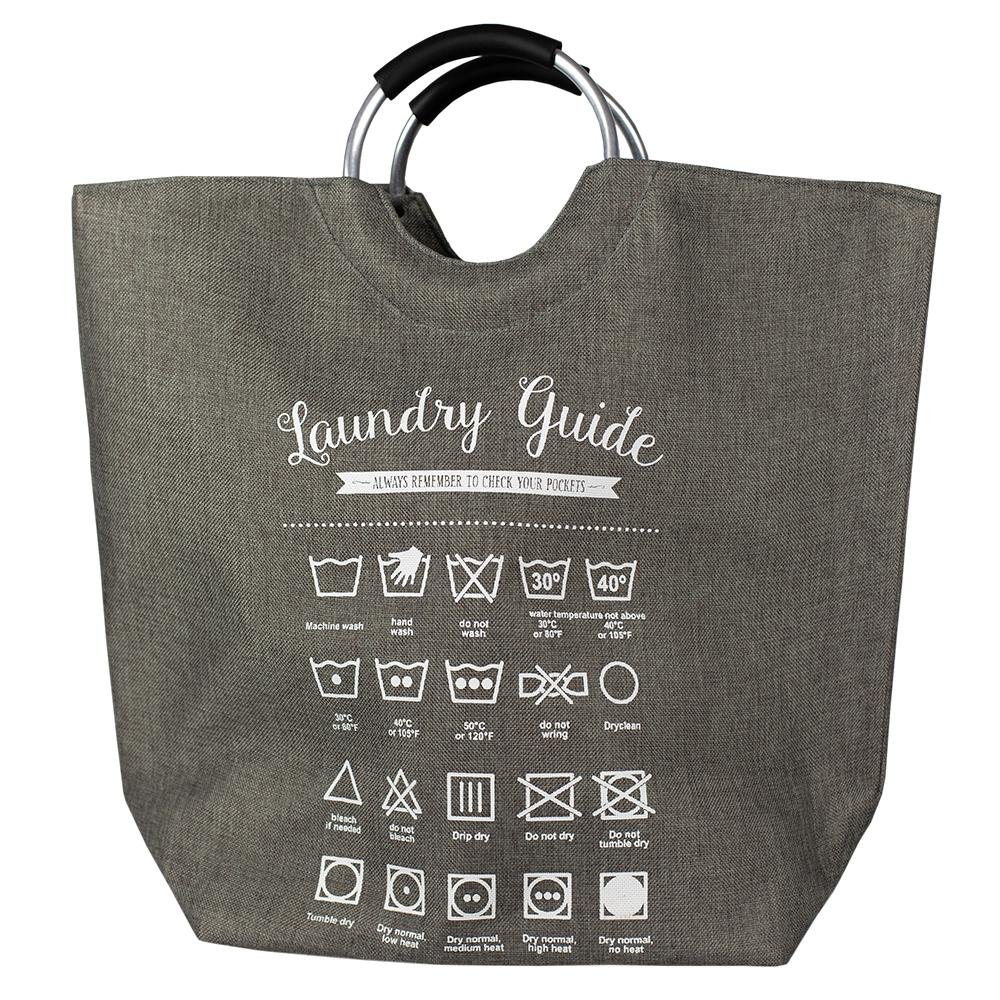 Grey Canvas Laundry Guide Hamper Tote With Soft Grip Handles