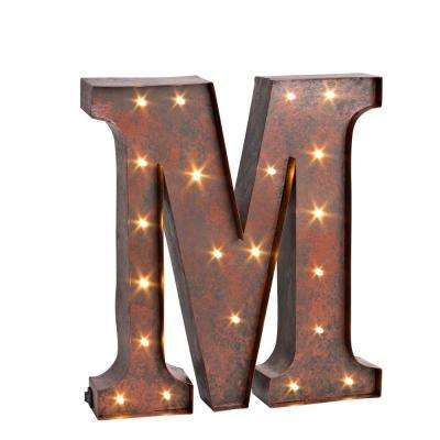"12 in. H ""M"" Rustic Brown Metal LED Lighted Letter"