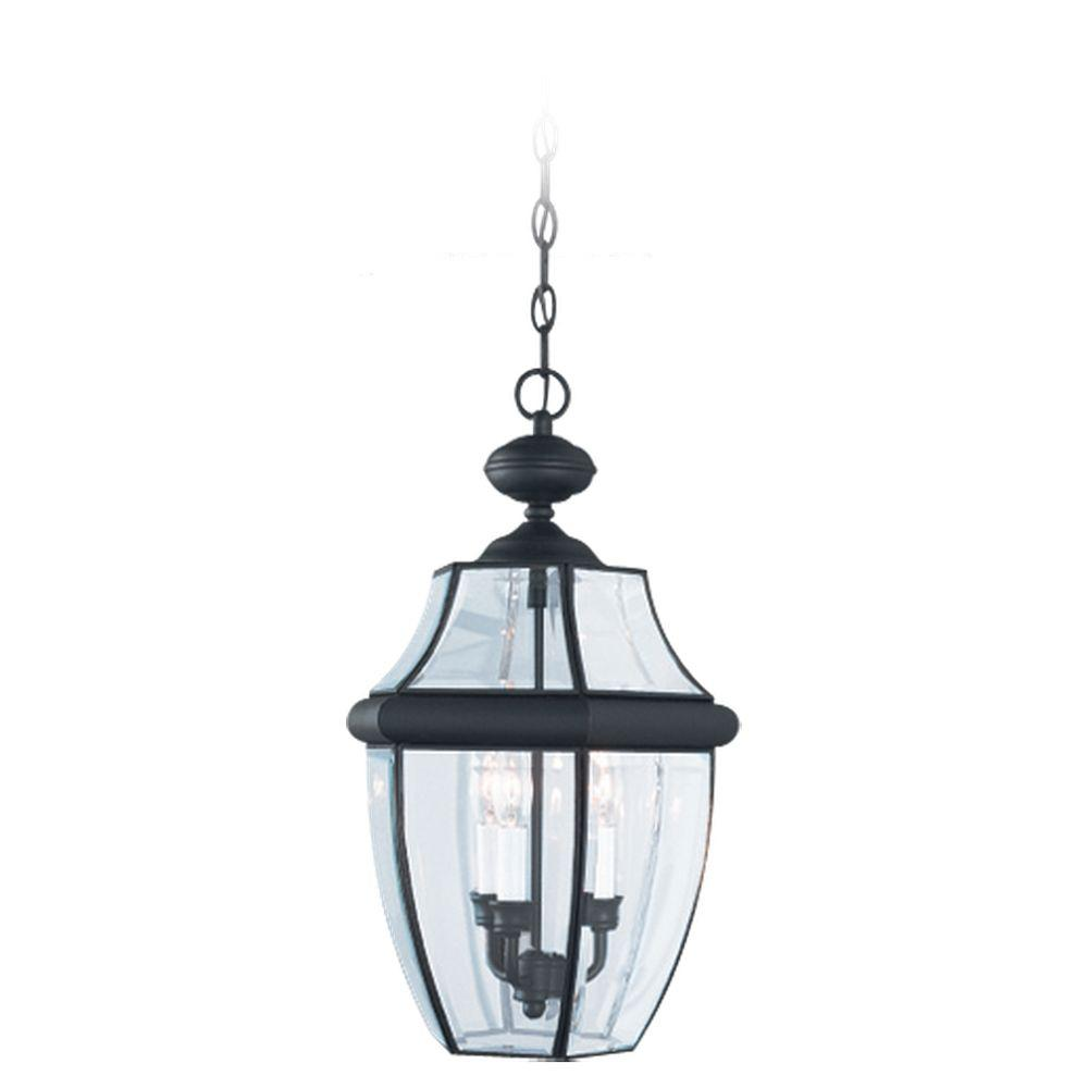 Sea Gull Lighting Lancaster 3-Light Black Outdoor Hanging Pendant