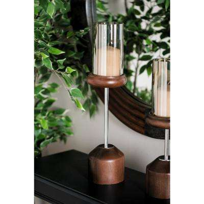 20 in. Smoked Beige Glass and Brown Mango Wood Hurricane Candle Holder