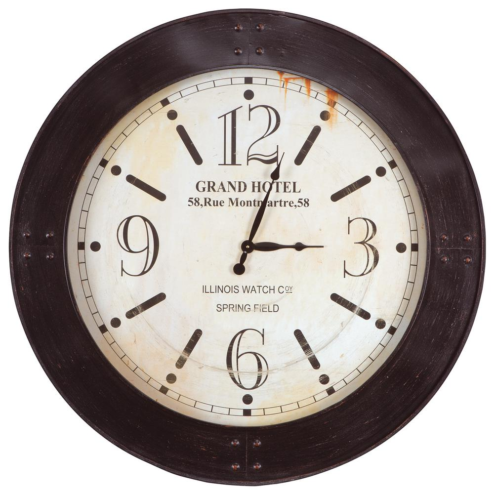 Yosemite Home Decor 39 In X 39 In Circular Iron Wall Clock With Glass In Distressed Copper