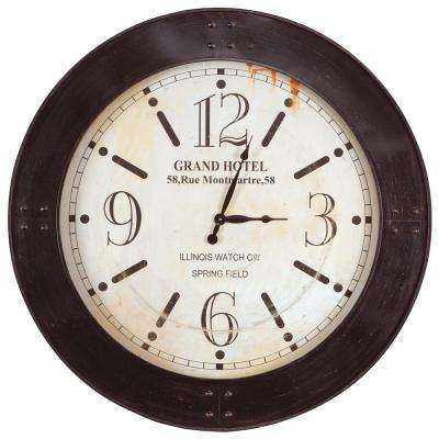39 in. x 39 in. Circular Iron Wall Clock with Glass in Distressed Copper Frame