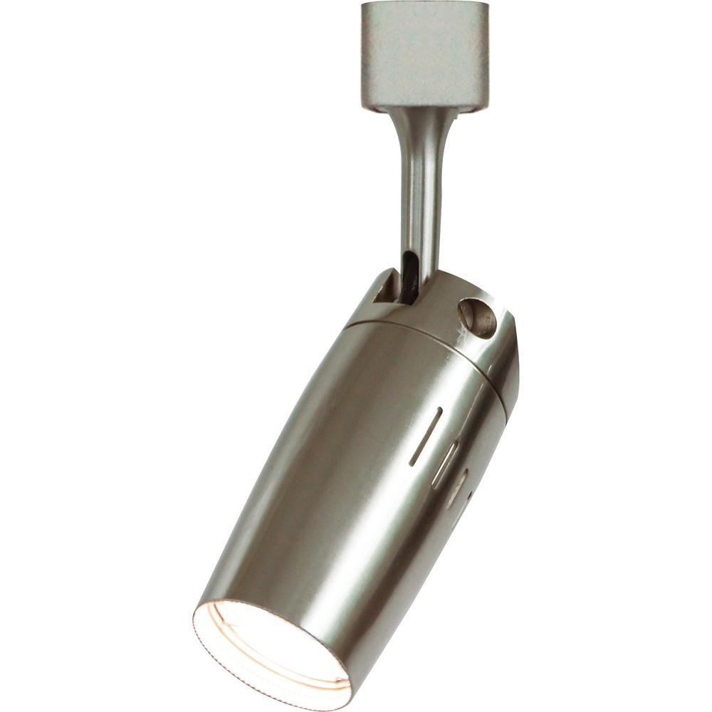 1-Light Indoor Brushed Nickel Integrated LED Aluminum Mini Adjustable Bullet Cylinder Track Head