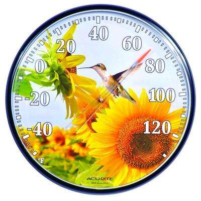 12.5 in. Hummingbird Sunflower Analog Thermometer