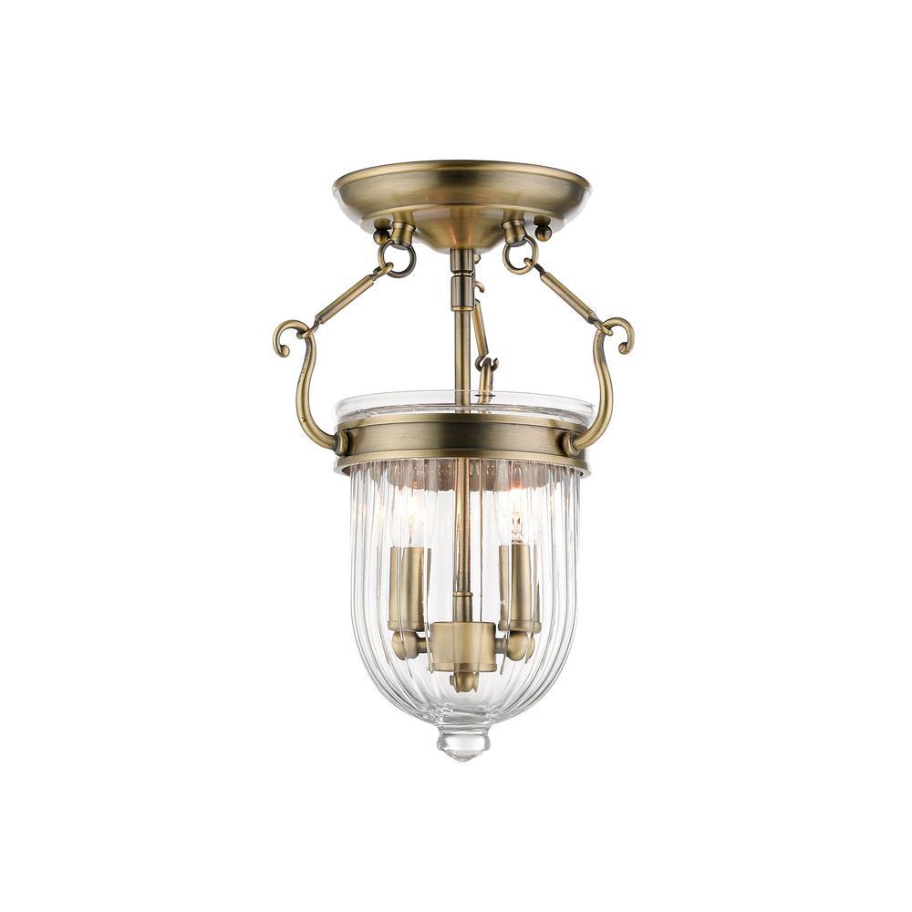 Antique Brass Livex Lighting 50512-01 Coventry 2-Light Ceiling Mount