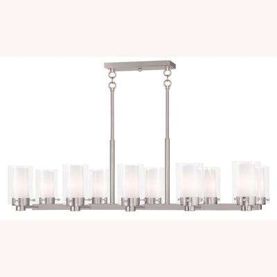 Manhattan 10-Light Brushed Nickel Chandelier with Hand Blown Clear and Opal Glass Shade