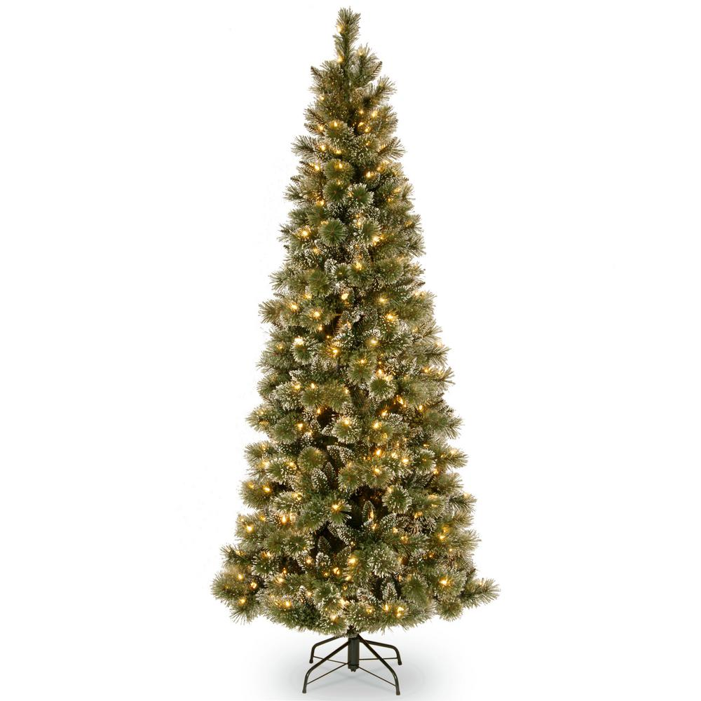 6.5 ft. Glittery Bristle Pine Slim Artificial Christmas Tree with Warm