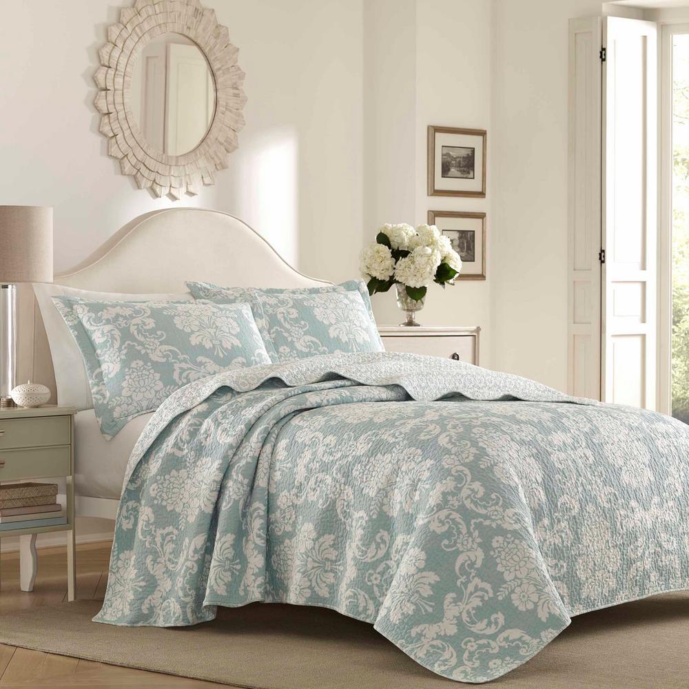 Venetia 3-Piece Duck Egg Blue Floral Cotton Full/Queen Quilt Set