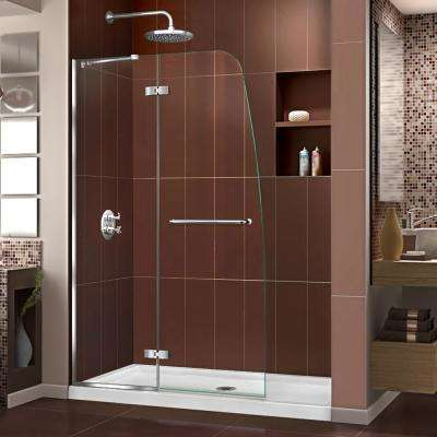 Aqua Ultra 34 in. x 60 in. x 74.75 in. Semi-Framed Hinged Shower Door in Chrome with Center Drain White Acrylic Base