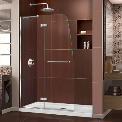 Aqua Ultra 45 in. x 72 in. Semi-Frameless Hinged Shower Door in Chrome