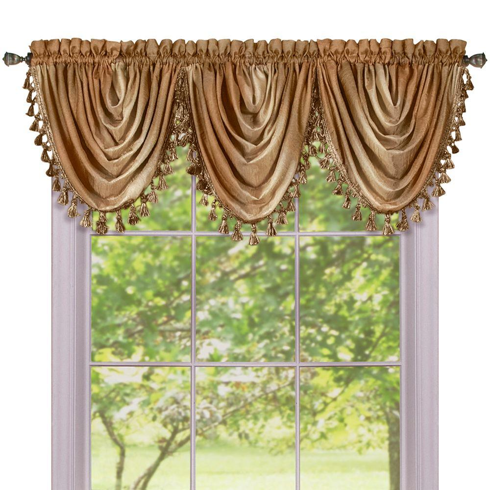 Achim Semi-Opaque Ombre Waterfall 42 in. L Polyester Valance in Sandstone