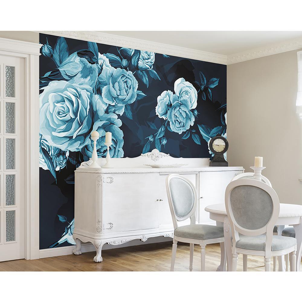 Blue Roses Wall Mural