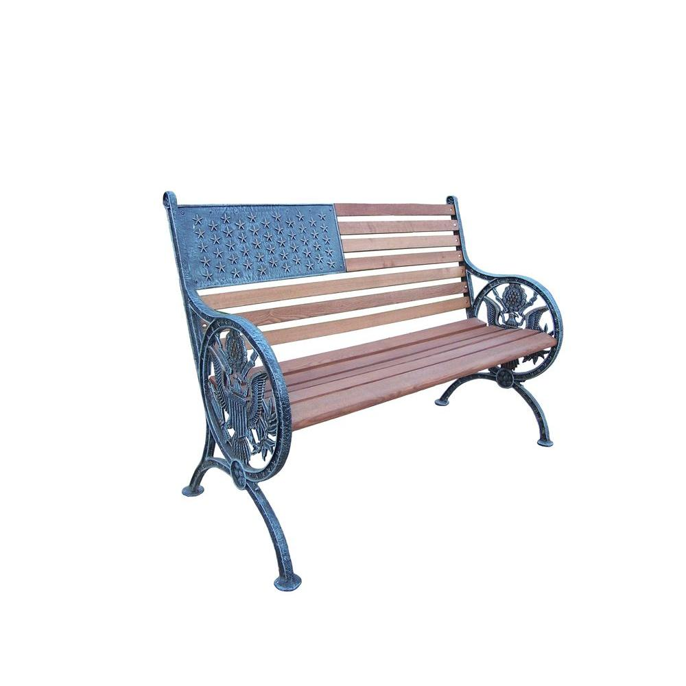 Oakland Proud American Patio Bench in Antique Verdi