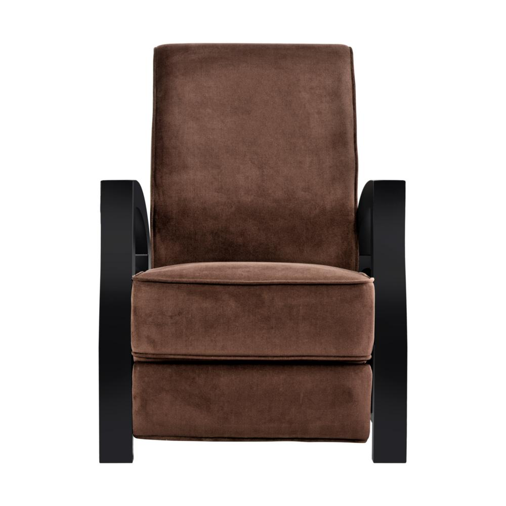 KUTA Solid Wood Java Black and Premium Chocolate Microvelvet Recliner