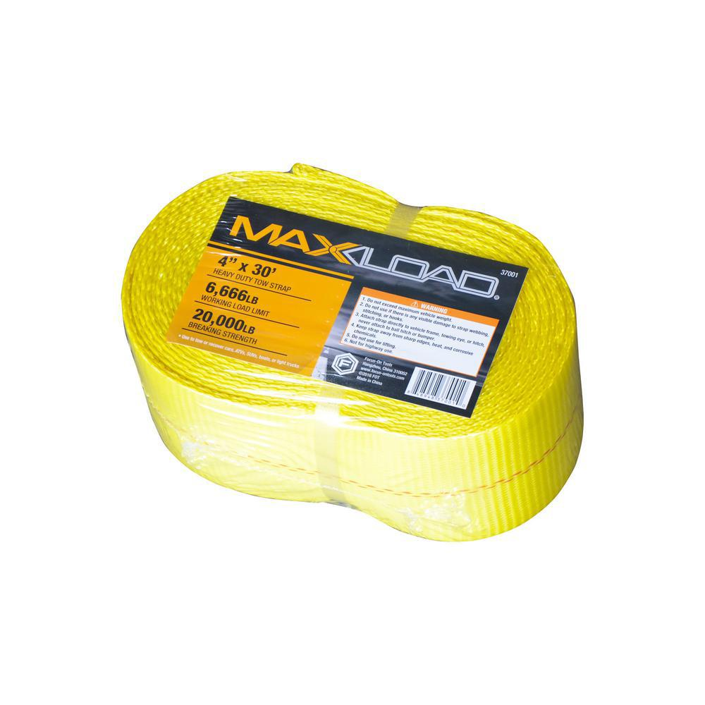 Max Load 4 in. x 30 ft. x 20,000 lbs. Vehicle Recovery Tow Strap