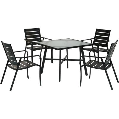 Cortino 5-Piece Commercial-Grade Aluminum Outdoor Dining Set with 4 Slat-Back Dining Chairs and a 38 in. Glass-Top Table