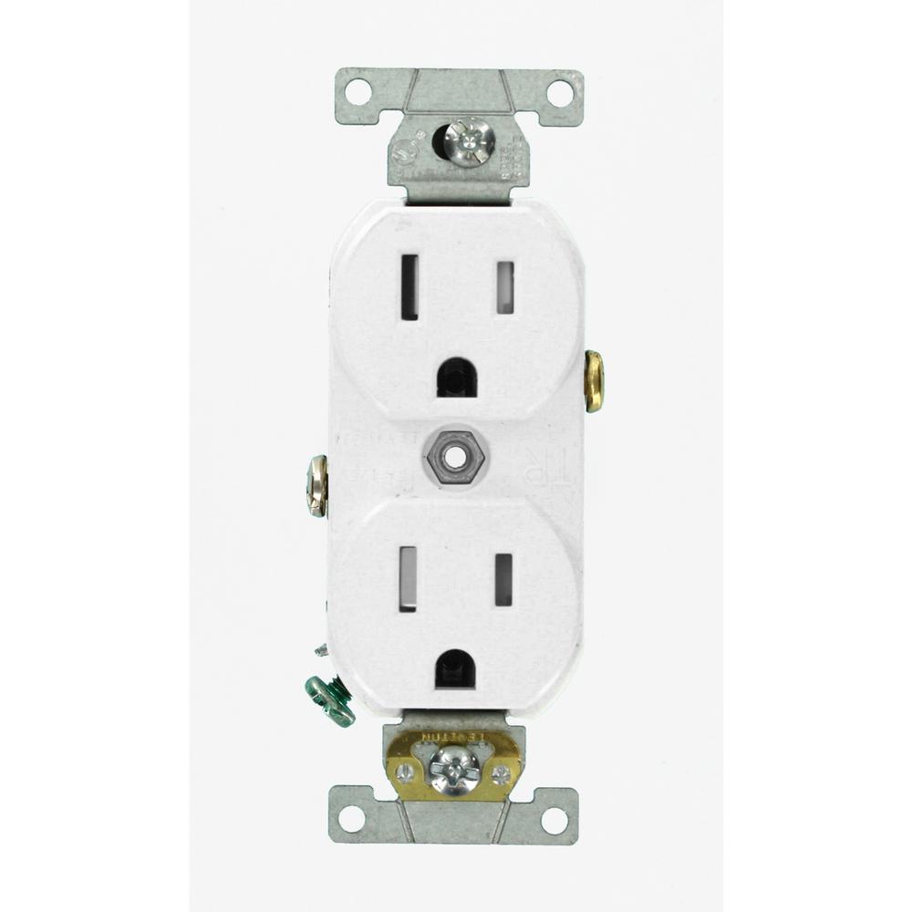 15 Amp Commercial Grade Tamper Resistant Duplex Outlet, White