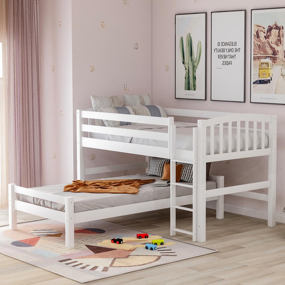 White Twin Binne Over Bunk Loft Bed