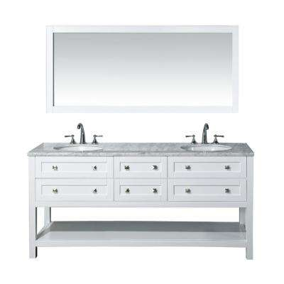 Marla 72 in. W x 22 in. D Vanity in White with Marble Vanity Top in White and Mirror