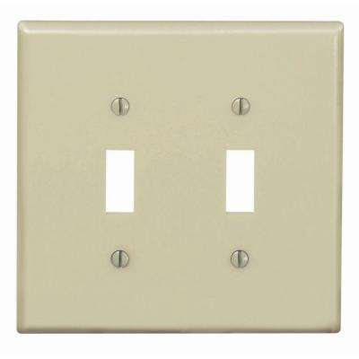 2-Gang Midway Toggle Nylon Wall Plate, Ivory