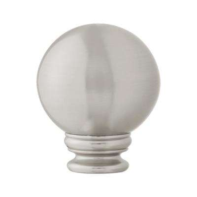 Mix and Match 1 in. Ball Curtain Rod Finial in Brushed Nickel (2-Pack)