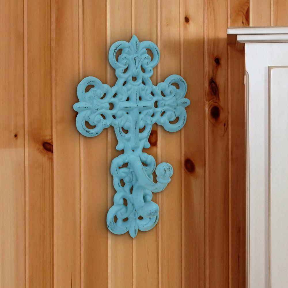 6 in. x 9.5 in. Turquoise Cast Iron Cross Wall Hook, Blue