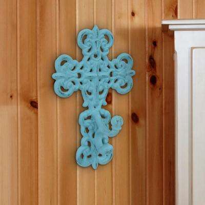 6 in. x 9.5 in. Turquoise Cast Iron Cross Wall Hook