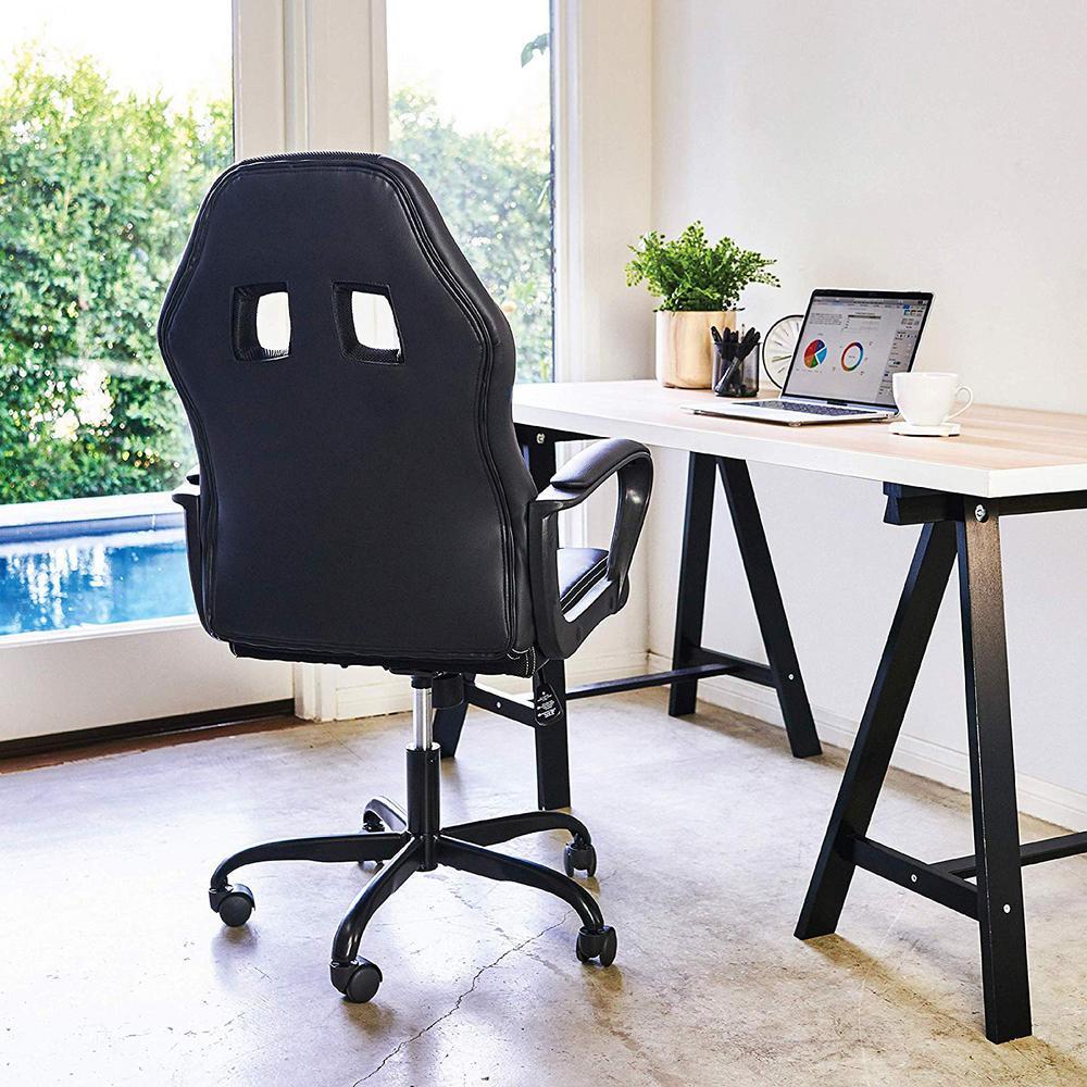 Black Office Chair Leather Desk Ergonomic Adjustable Racing Chair Task Swivel Executive Computer Chair