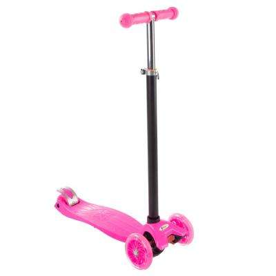 3-Wheel Pink Kick Scooter with LED Light-up Wheels