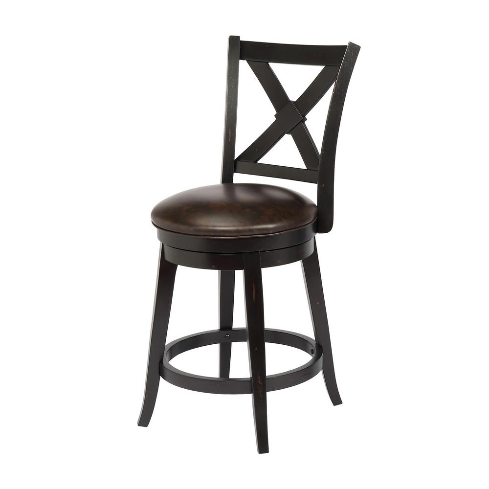 Bailey 24 in. Black Counter Height Swivel Bar Stool (Individual)