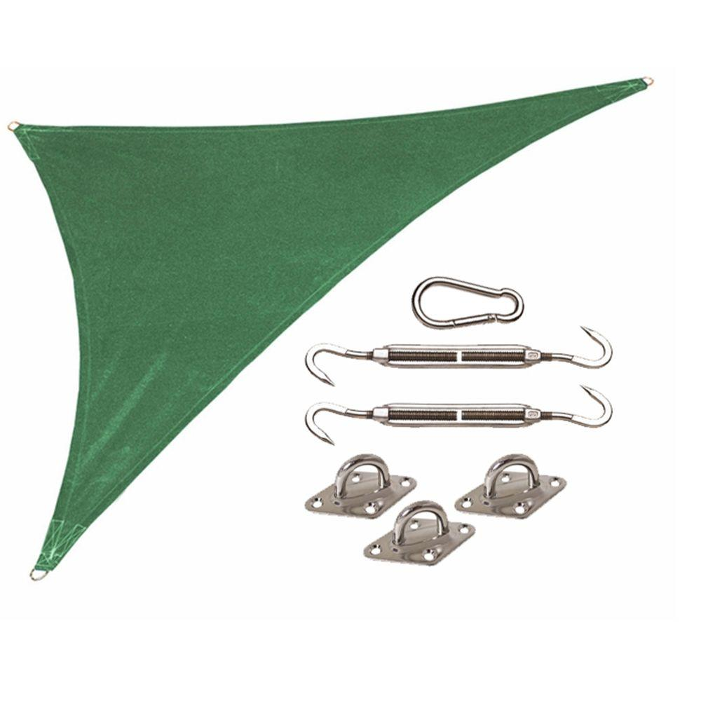 Coolaroo Coolhaven 15 ft. x 12 ft. x 9 ft. Green Right Triangle Heritage Shade Sail with Kit