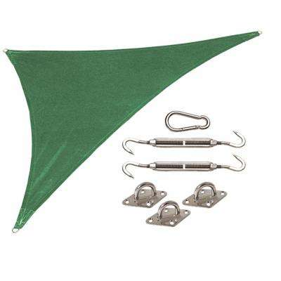 Coolhaven 15 ft. x 12 ft. x 9 ft. Green Right Triangle Heritage Shade Sail with Kit