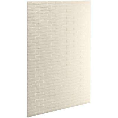 Choreograph 0.3125 in. x 60 in. x 96 in. 1-Piece Shower Wall Panel in Almond with Brick Texture for 96 in. Showers