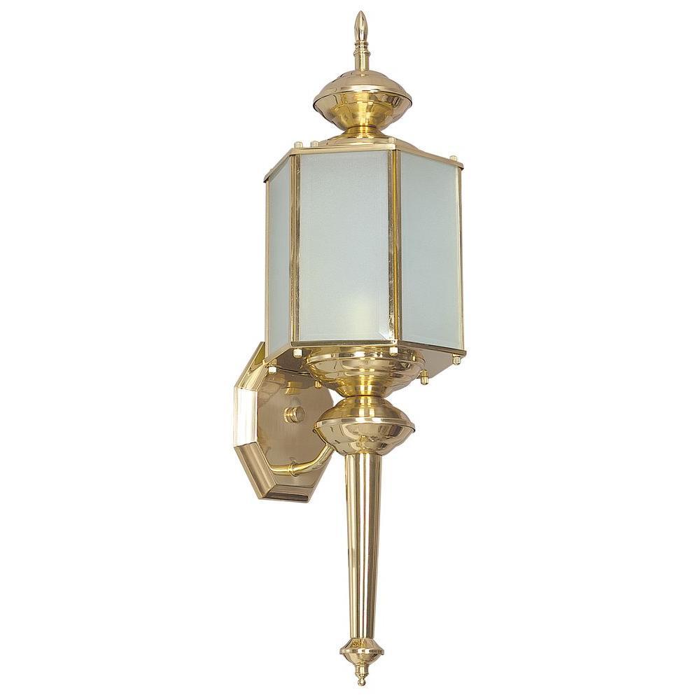 Sunset Hastie 1 Light Polished Brass Outdoor Wall Lantern