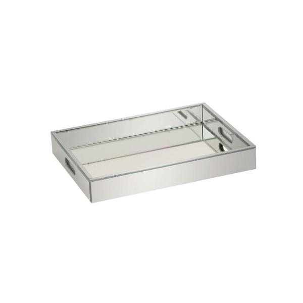 Litton Lane 18 In X 3 In Modern Silver Finished Decorative Mirror Tray 87316 The Home Depot